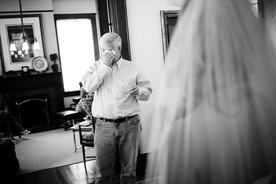 10 most emotional wedding photos: #2 father of the bride gets teary eyed when he sees daughter (photo by anne almasy)  I will always be daddy's little girl. I must have this picture