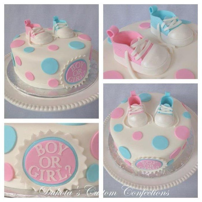 Pink and Blue Baby Shoes Gender Reveal Cake. Fondant covered cake with fondant accents and fondant baby shoes. All edible. Thanks for looking!