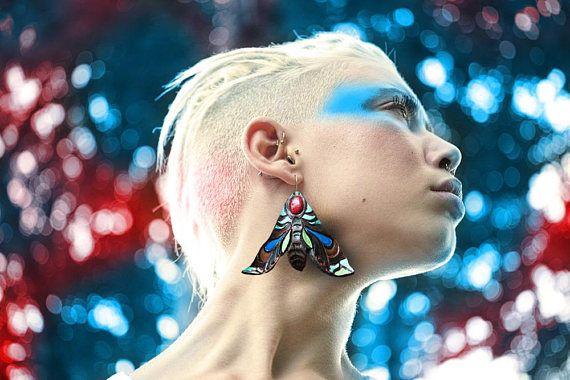 ETHNIC WOW EARRINGS hawk moth psychodelic tribal jewellery