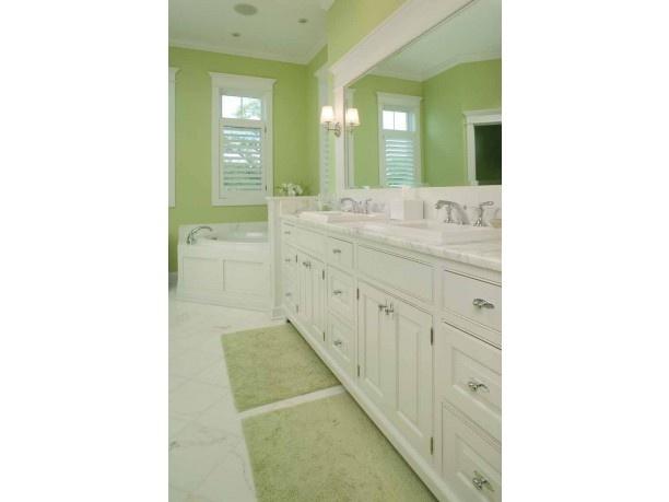 Bright green bathroom