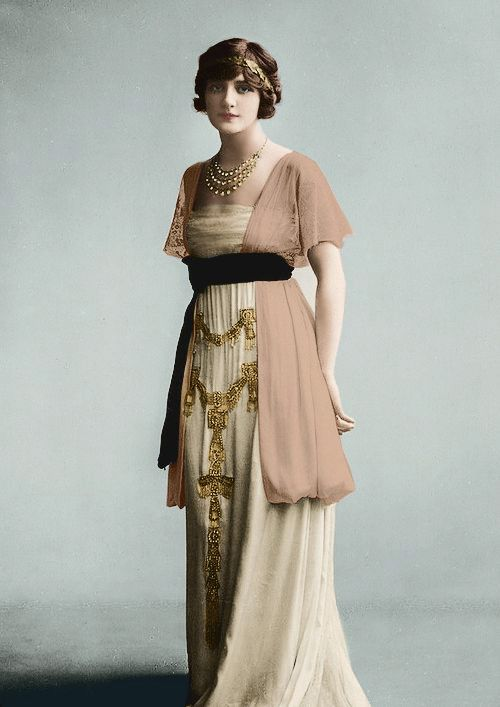 Edwardian actress Miss Lily Elsie.  Restored and colored.