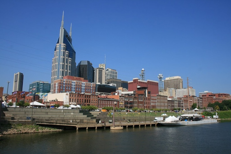 Nashville skyline from aboard the M/V Arthur J. Carson on the Cumberland river, August 2011