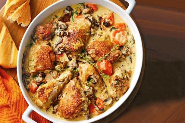 Κοτόπουλο+με+κρεμώδη+σάλτσα+στο+φούρνο