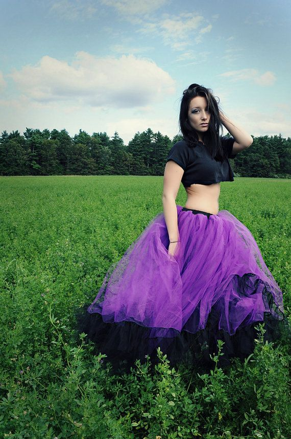 Petticoat Tutu Skirt Long Formal Ultra Huge Black And Purple Extra Poofy Adult Gothic You Choose Size Sisters Of The Moon Wedding