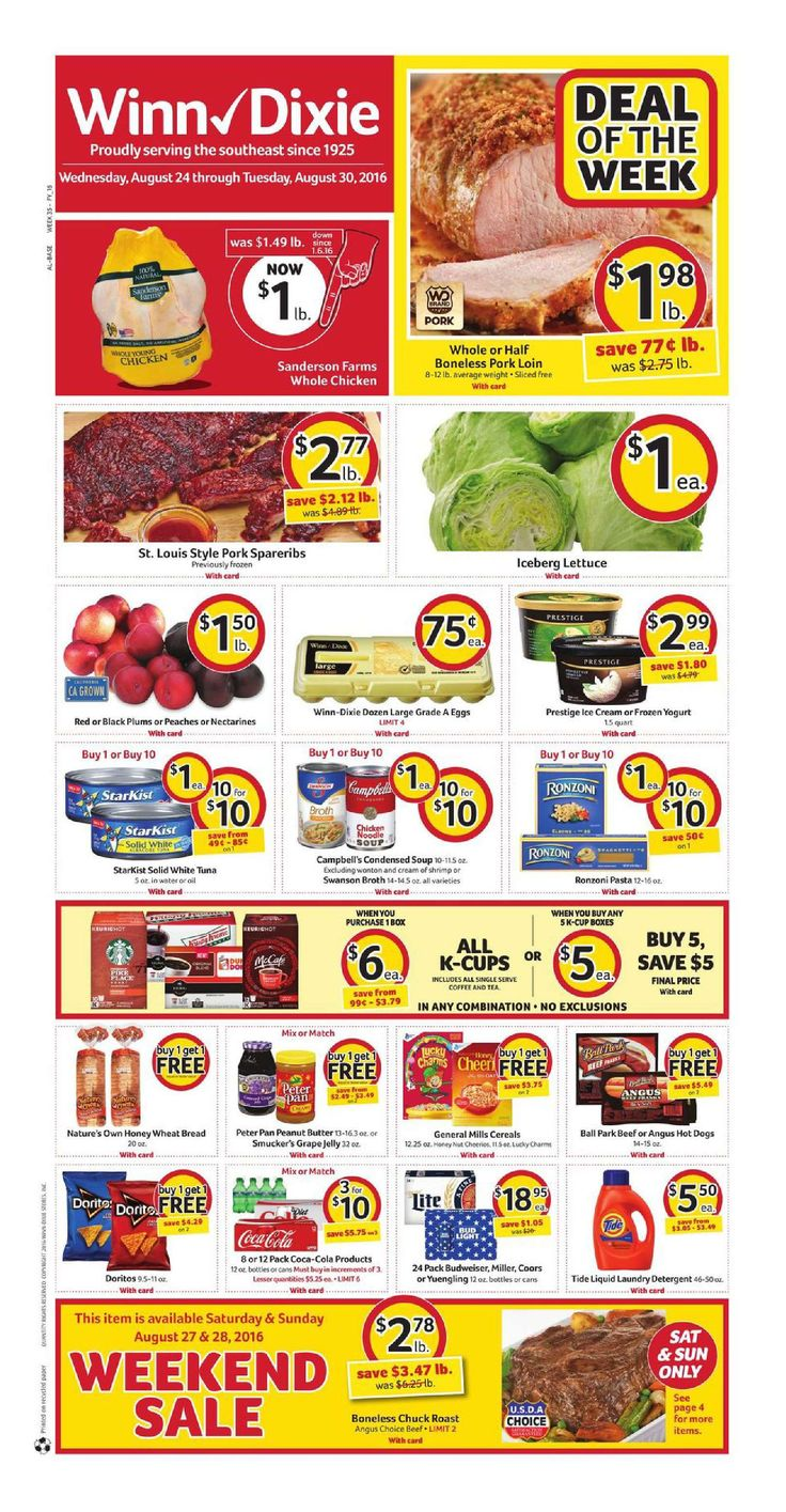 Winn Dixie Weekly Ad August 24 - 30, 2016 - http://www.olcatalog.com/grocery/winn-dixie-weekly-ad.html