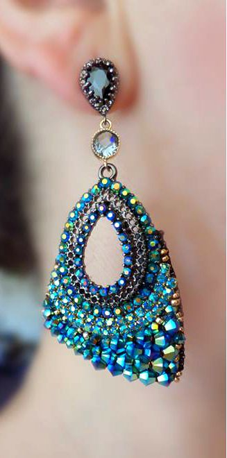 ~~Beaded Earrings | Metal components and Bead Embroidery with Swarovski Crystals | by Serena Di Mercione Jewelry~~