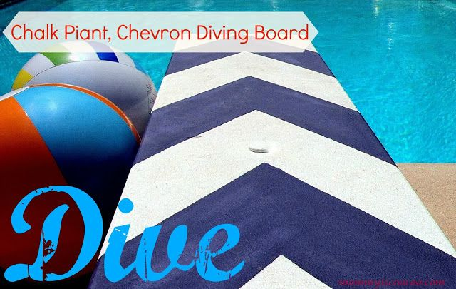 I love how she spruced up her diving board! Chalk Paint, Chevron Stripe, Diving Board via mommy is coo coo