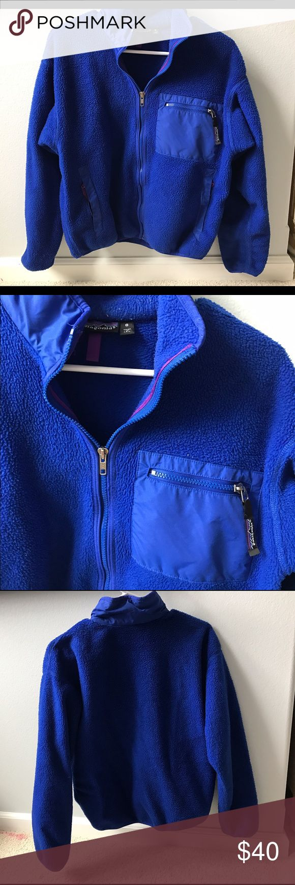 Patagonia Vintage zip up authentic Women's Royal Blue patagonia zip up • says size 8, fits like and XS or S• bought at Urban Outfitters in NY• all zippers attached and in good condition• VINTAGE Patagonia Jackets & Coats Utility Jackets