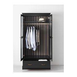 IKEA - UNDREDAL, Garderobekast, , Scharnieren met ingebouwde dempers vangen de deur op en zorgen dat deze langzaam, stil en zachtjes dichtgaat.Met de verstelbare poten kan je oneffenheden in de vloer opvangen.De ingebouwde demper vangt de lade op en zorgt voor een langzame, stille en zachte sluiting.Door de speciale uitsparing voor kleerhangers langs de bovenlijst kan je gemakkelijk je kleren aan de buitenkant van de garderobekast hangen.