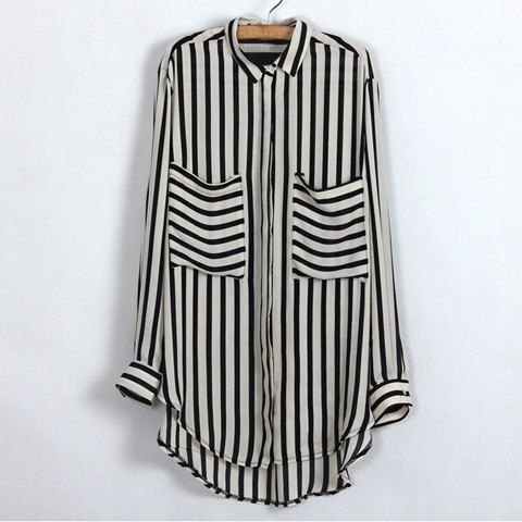Trendy Shirt Neck Stripe Print Large Pocket Design Long Sleeve Plus Size Women's Spring Shirt, AS THE PICTURE, L in Blouses | DressLily.com