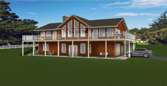 Plan 2012639 Bungalow With Walkout Basement Open Concept Vaulted Ceiling Office Main Floor Laundry Lar Basement House Plans House Plans Lake House Plans