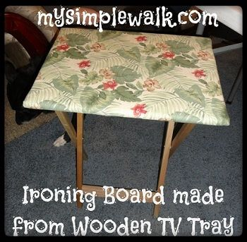 Great idea for those with little space. Tutorial: TV tray portable ironing board