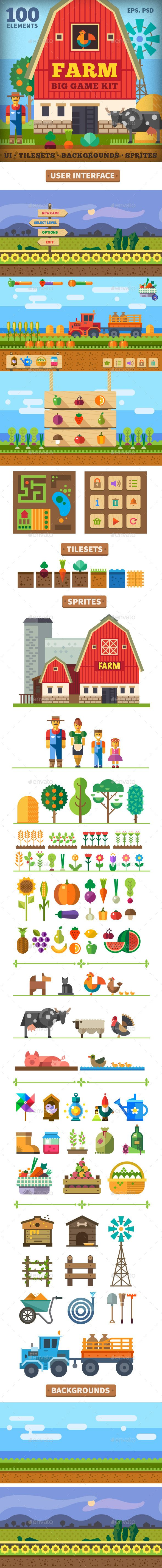 Farm in the Village. Big Game Kit in Flat Style Download here: https://graphicriver.net/item/farm-in-the-village-big-game-kit-in-flat-style/10107188?ref=KlitVogli