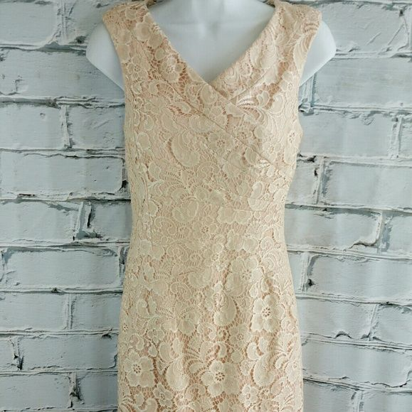 "SALE JAX Peach Lace Dress Amazing High Quality Jax Peach Lace Dress. Fully Lined 34"" from top of shoulder to bottom 15"" from armpit to armpit. This is an Amazing Dress! Jax Dresses"