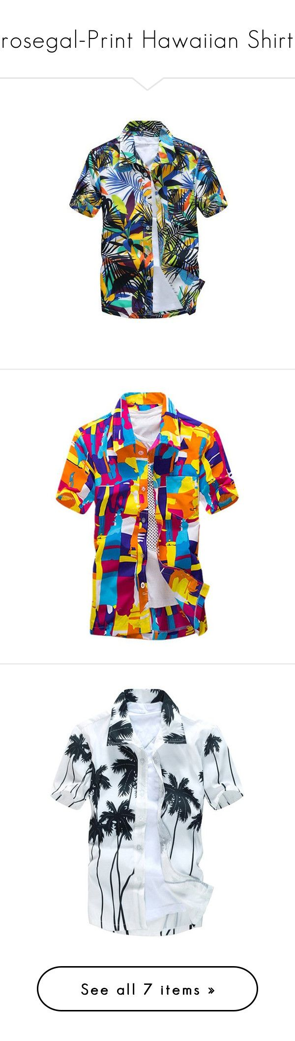 """rosegal-Print Hawaiian Shirt"" by fshionme ❤ liked on Polyvore featuring men's fashion, men's clothing, men's shirts, men's casual shirts, men's hawaiian print shirts, mens hawaiian shirts, mens abstract shirts, mens color block shirt, mens palm tree shirt and mens casual short sleeve shirts"