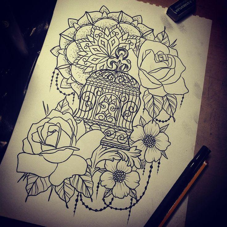 Showing my feminine side for tomorrow's customers lol #tattooideas #tattoodesign #tattooed #tattooedgirls #rose #sketch #drawing #mandala #flowers #flowertattoo #birdcage #newquay #cornwall #tattooartistcornwall #atlanticcoasttattoo #inkaddict #sleevetattoo @jerry_tattooist
