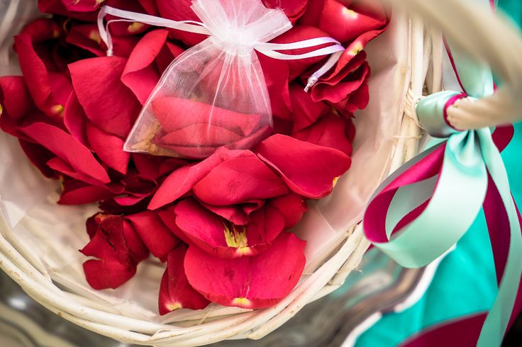 Flower petals - Flower basket - Beautiful colors - Just perfect!! #beachwedding #weddingingreece #mythosweddings #kefalonia