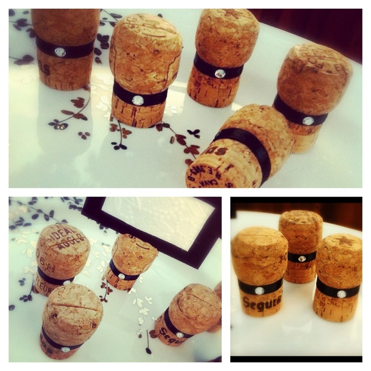 place card holders for wedding or bridal shower made from recycled champagne corks set of