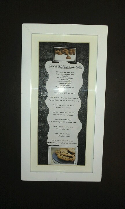 Framed recipe idea I got from this site. I plan to do a lot more around my kitchen. Very cute.