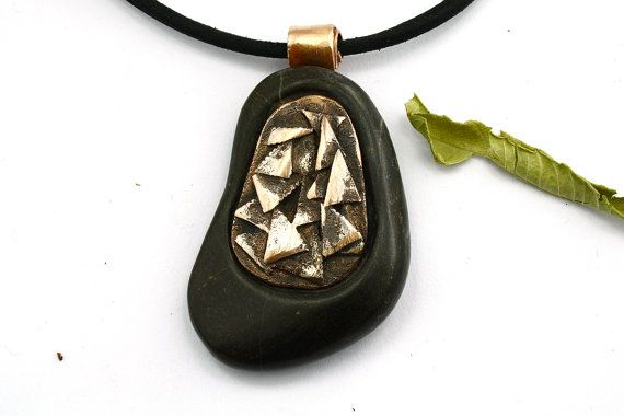 Beach stone necklace  Boho Necklace  Energy by naturalstonecutter