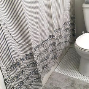 Blue And White Ticking Stripe Shower Curtain