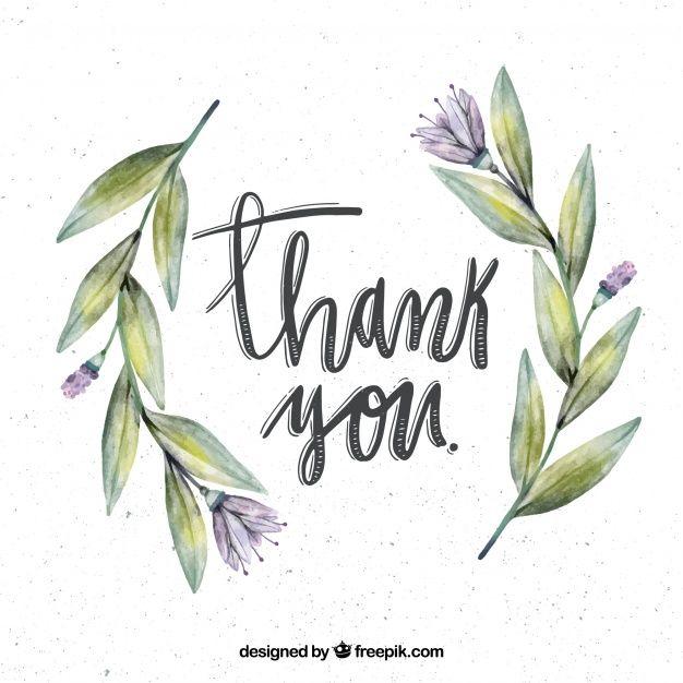 Fundo retro com flores de aguarela e obrigado mensagem Vetor grátis