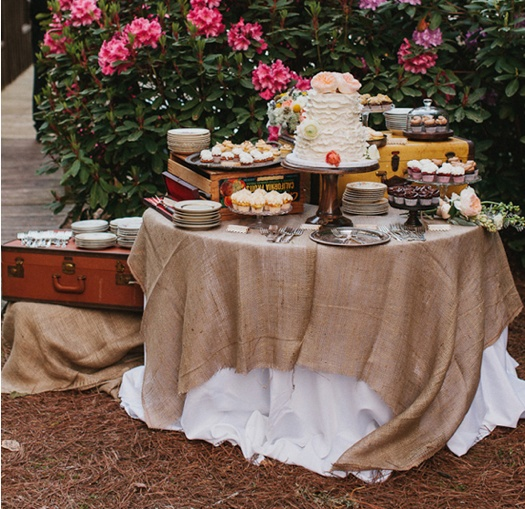 Burlap Covered Dessert Table And Vintage Suitcase Dessert Stands