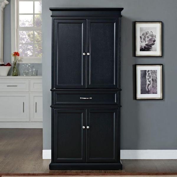Crosley Parsons Black Storage Cabinet Cf3100 Bk The Home Depot Kitchen Pantry Cabinets Kitchen Cabinets Makeover Kitchen Cabinet Storage