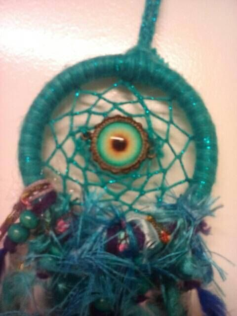 Indigo eye/third eye dreamcatcher. 3 inch hoop. Acrylic yarn. This item is blue and purple in colour. Feathered and beaded tail. Please see other listings for different colours. Third eye activation. Moon and watery energies. Intuition. Clairvoyance.