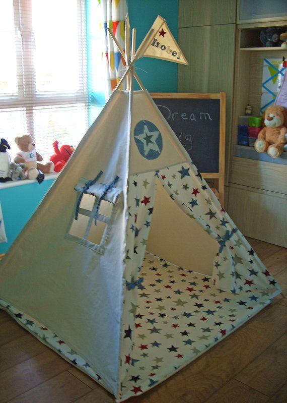 Teepee Play Tent Kids Teepee Tent Stars Blue and by TheTeepeeFairy