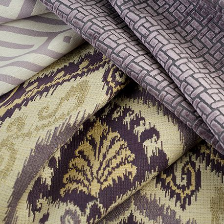 We love Fabricut fabrics. These purples can be so modern with ivory, white or grey.