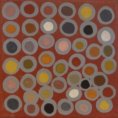 Phyllis Ningarmara / Untitled 2009 Natural ochre on canvas  25 x 25cm
