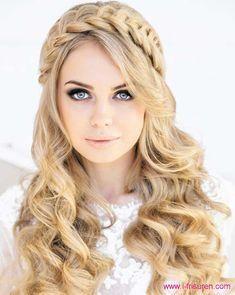 Süß, blond, langes Haar für Mädchen: lockige Frisuren