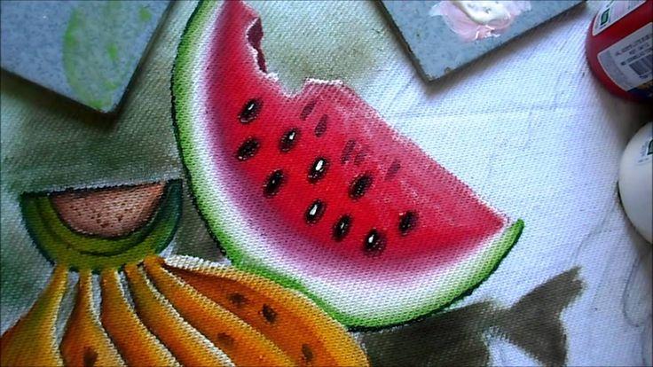 como pintar melancia em tecido