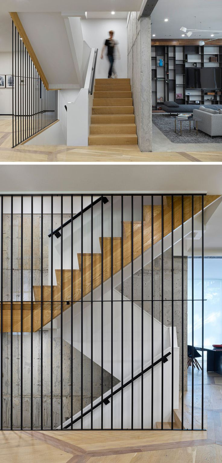 Wood, steel and concrete have been paired with white walls for a contemporary looking staircase.