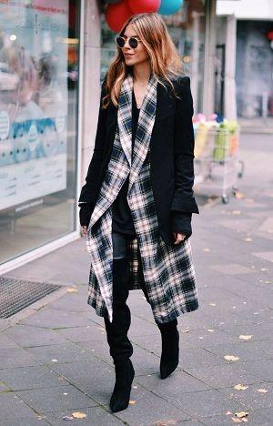 超ロング丈のチェック柄ワンピースで着るレイヤードがかっこいい♪秋冬ファッションに取り入れたいシャツワンピースコーデ♡