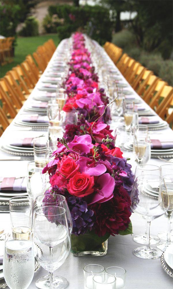 Gorgeous Fuchsia Amp Purple Long Wedding Reception Tables On