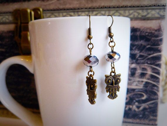 Bronze owl dangling earrings crystal bead sparkly feminine