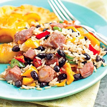 Cuban Fried Rice        This simple supper requires just seven ingredients. Fresh pineapple tempers the spice of chopped jalapeno peppers, while chunks of ham make it nice and filling.