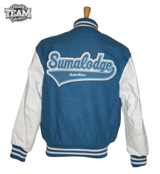 Sumalodge Quarterhorses custom wool and leather varsity jacket back with chenille patches and embroidery by Team Varsity Jackets. www.teamjackets.net www.facebook.com/TeamVarsityJackets