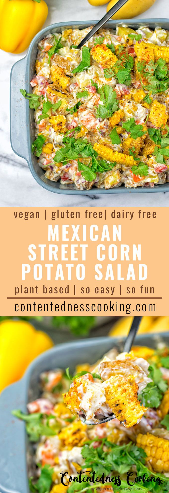 Mexican Street Corn Potato Salad tastes like summer thanks to the inclusion of fresh roasted corn, potatoes, and vegan mayonnaise.