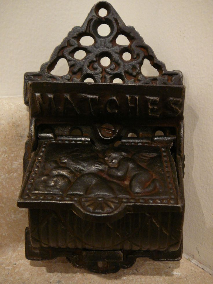 S25 ANTIQUE CAST IRON MATCH SAFE HOLDER WALL MOUNT VENUS CUPID ANGEL CHERUB