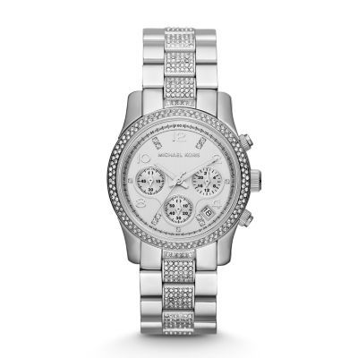 Sale 	 	Runway Midsized Silver Tone Glitz Watch Glitz crystals embellish the stainless steel case and bracelet of the Michael Kors Runway chronograph giving it ample shine for day or night.Click to View Our Michael Kors 2-Year Warranty