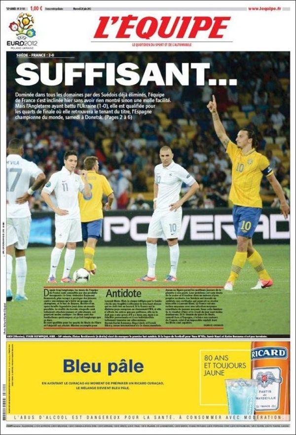 """L'Equipe  """"Suffisant..."""" titula el diario deportivo francés por excelencia, una palabra que expresa prepotencia y suficiencia."""