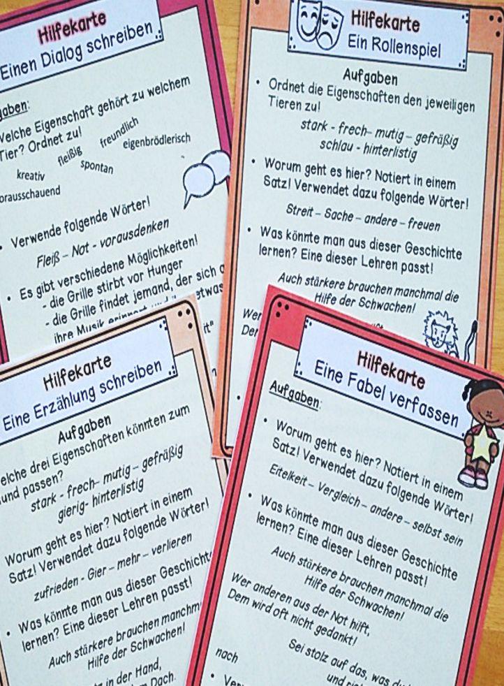 Hilfekarten kommen in unseren Materialien immer wieder zum Einsatz. Hier in der Stunde Fabeln heute. Die Aufgaben um die Schüler zu einem Transfer heranzuführen werden durch solche Karten unterstützt, sodass auch schwächere Schüler diese Schritte machen können. – Tanja Matzen