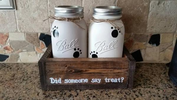 Mason Jar table decor - mason jar pet decor - Pet treat storage - Pet  – Stacy Turner Creations