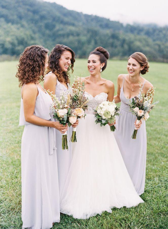 All smiles coming from the bridal party: http://www.stylemepretty.com/little-black-book-blog/2016/11/23/romantic-rainy-mountain-wedding/ Photography: Graham Terhune - http://grahamterhune.com/