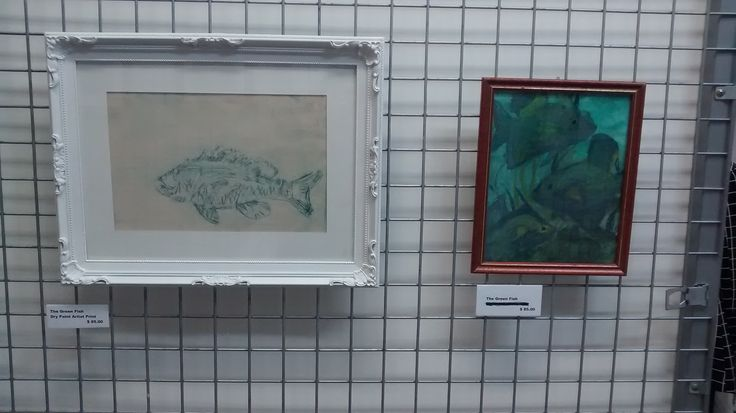 The Green Fish By Deb Chilton  Print on left and mixed media on the right.