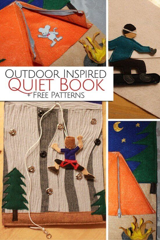 Outdoor Inspired Quiet Book + Free Patterns. How gorgeous is the rock climbing page.