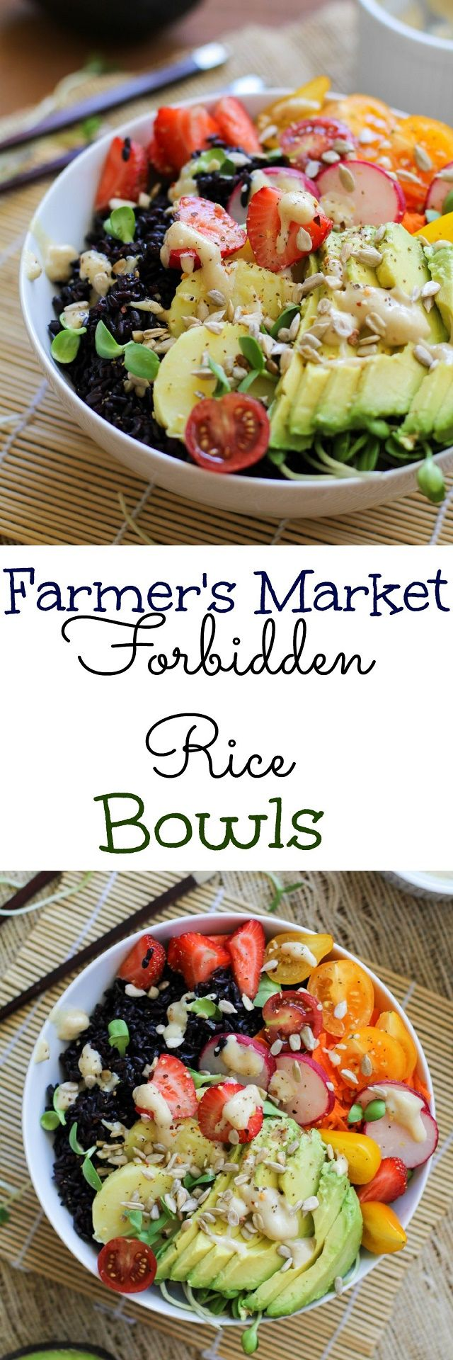 Farmer's Market Forbidden Rice Bowls with Tahini Apricot Sauce | TheRoastedRoot.net